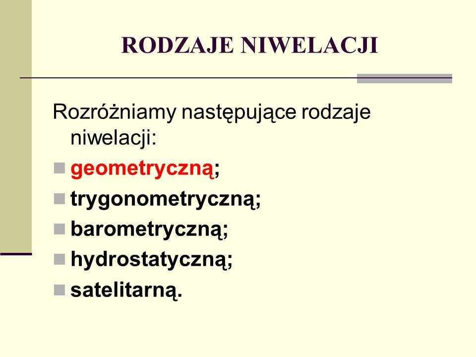 RODZAJE NIWELACJI Rozróżniamy następujące rodzaje niwelacji: