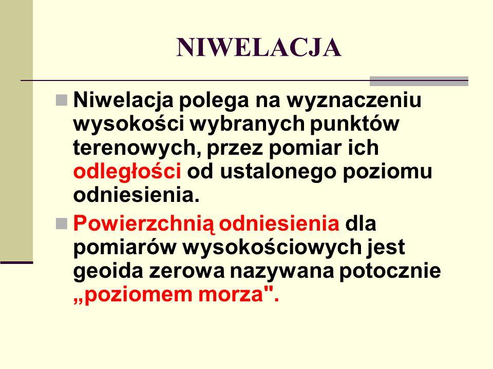 NIWELACJA Niwelacja polega na wyznaczeniu wysokości wybranych punktów terenowych, przez pomiar ich odległości od ustalonego poziomu odniesienia.