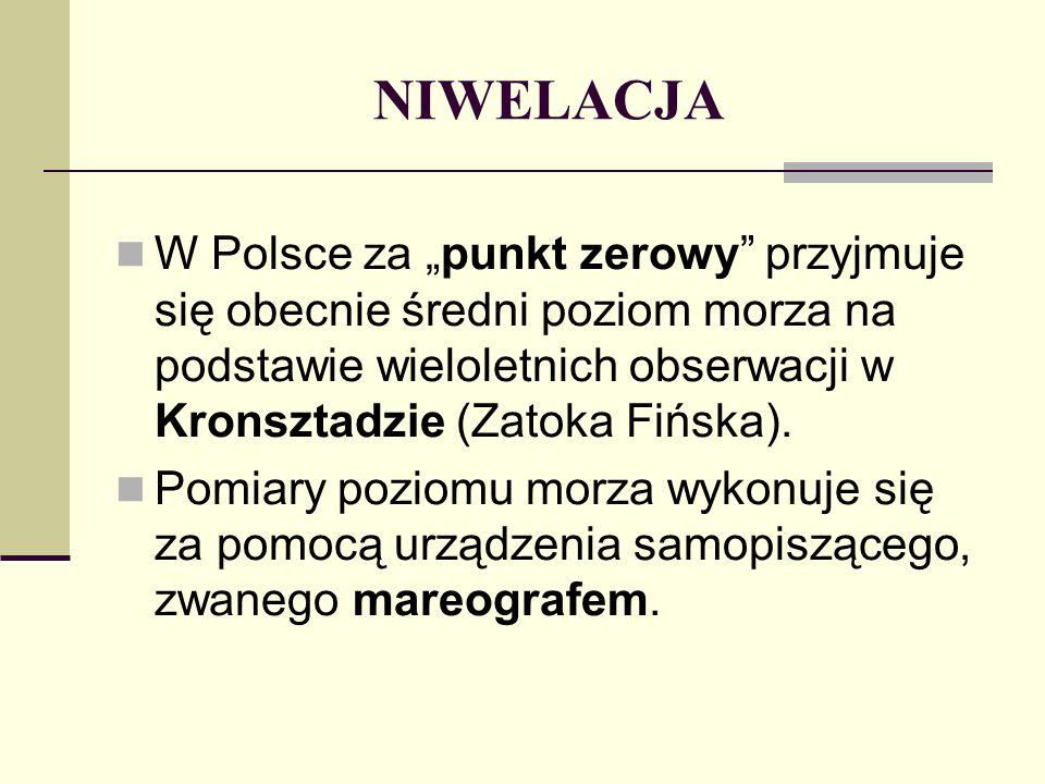 """NIWELACJA W Polsce za """"punkt zerowy przyjmuje się obecnie średni poziom morza na podstawie wieloletnich obserwacji w Kronsztadzie (Zatoka Fińska)."""
