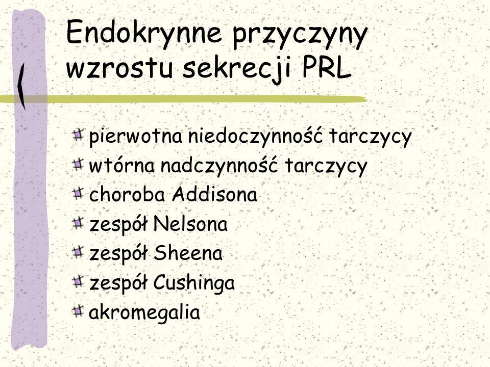 Endokrynne przyczyny wzrostu sekrecji PRL