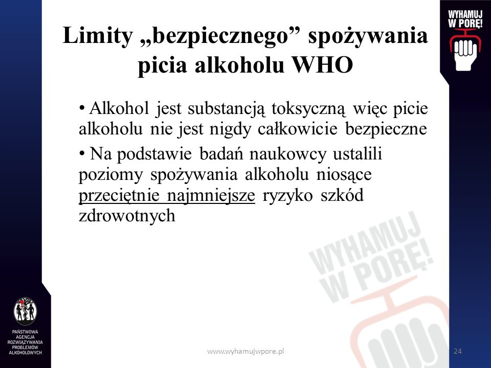 """Limity """"bezpiecznego spożywania picia alkoholu WHO"""