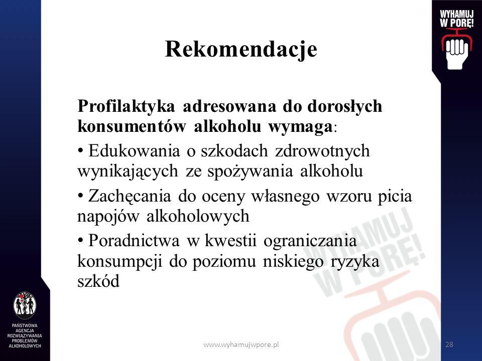 Rekomendacje Profilaktyka adresowana do dorosłych konsumentów alkoholu wymaga: Edukowania o szkodach zdrowotnych wynikających ze spożywania alkoholu.