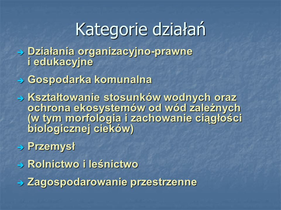 Kategorie działań Działania organizacyjno-prawne i edukacyjne