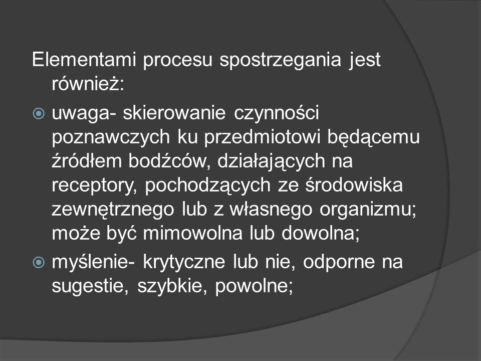 Elementami procesu spostrzegania jest również: