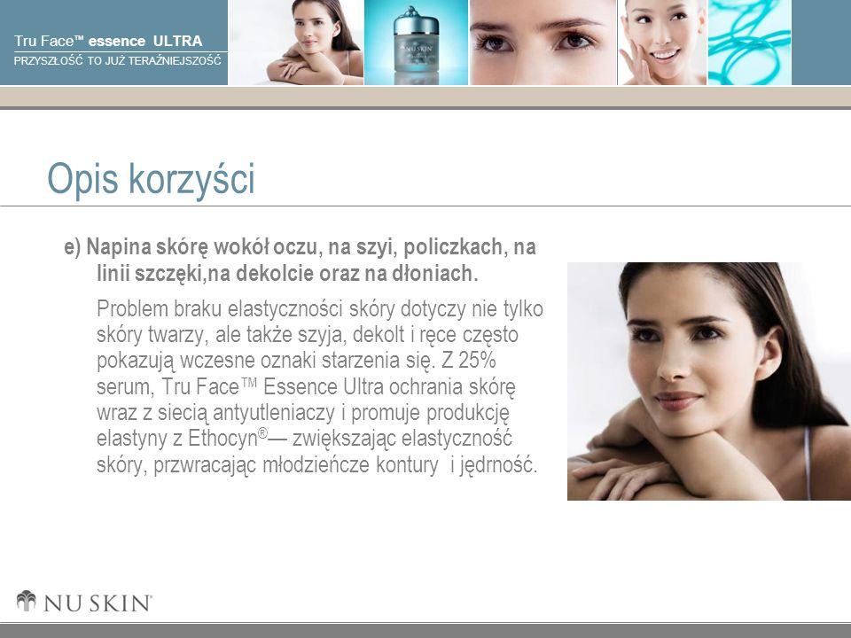 Opis korzyści e) Napina skórę wokół oczu, na szyi, policzkach, na linii szczęki,na dekolcie oraz na dłoniach.