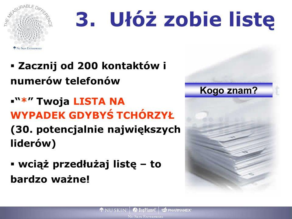 3. Ułóż zobie listę Zacznij od 200 kontaktów i numerów telefonów