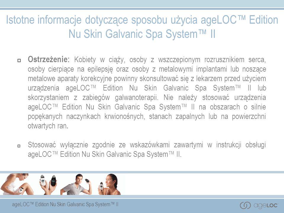 Istotne informacje dotyczące sposobu użycia ageLOC™ Edition