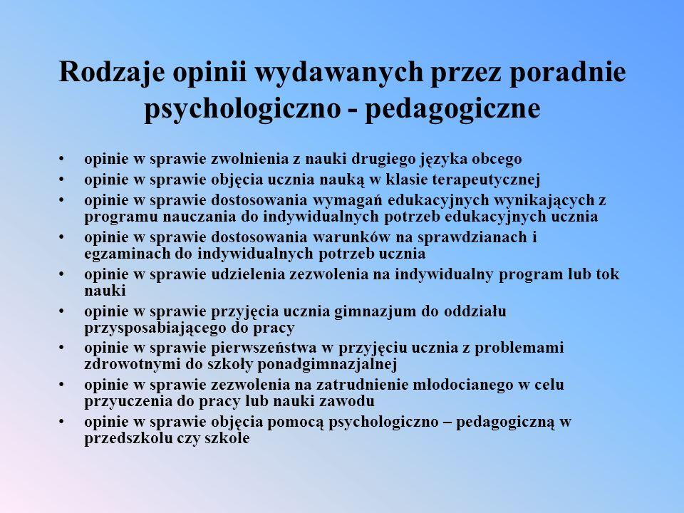 Rodzaje opinii wydawanych przez poradnie psychologiczno - pedagogiczne