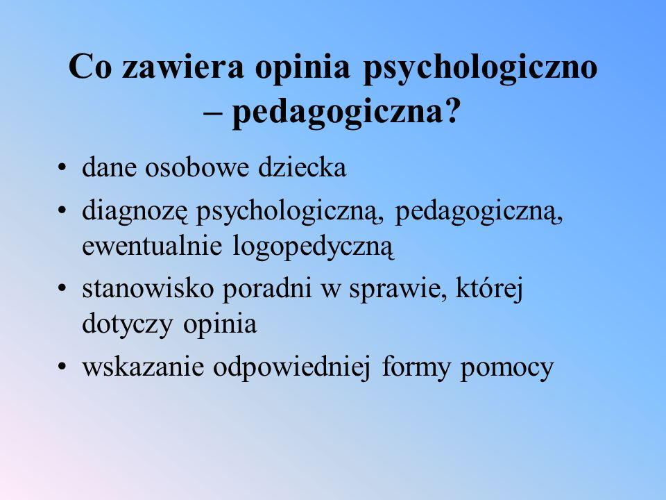 Co zawiera opinia psychologiczno – pedagogiczna