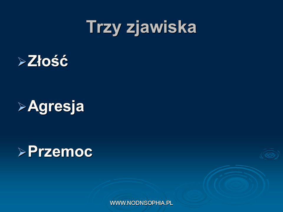 Trzy zjawiska Złość Agresja Przemoc WWW.NODNSOPHIA.PL