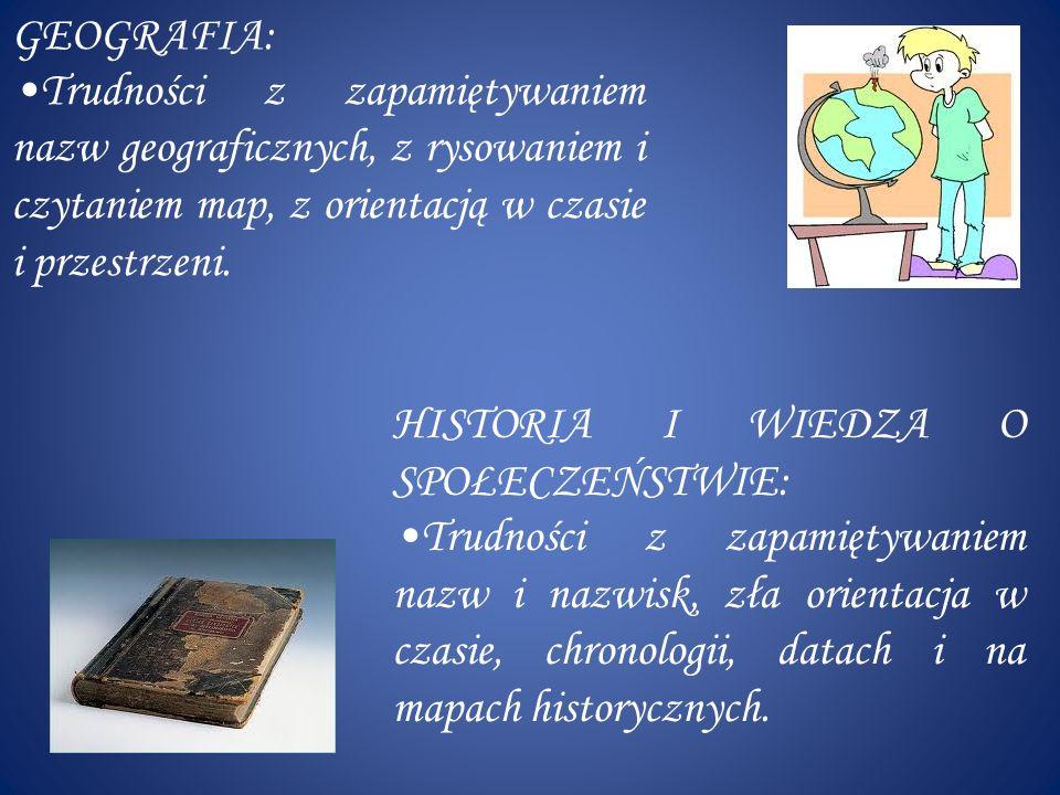 GEOGRAFIA: Trudności z zapamiętywaniem nazw geograficznych, z rysowaniem i czytaniem map, z orientacją w czasie i przestrzeni.