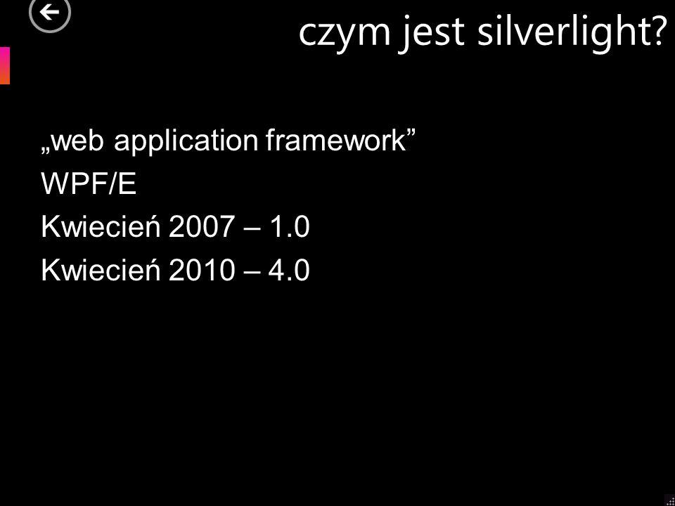"""czym jest silverlight """"web application framework WPF/E Kwiecień 2007 – 1.0 Kwiecień 2010 – 4.0"""