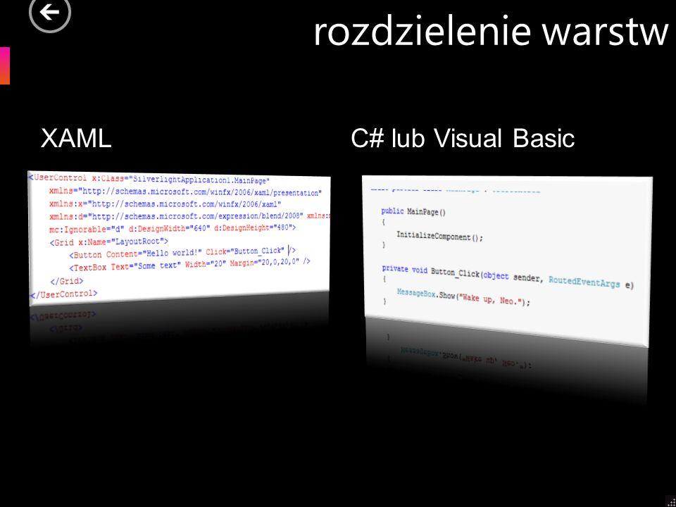 rozdzielenie warstw XAML C# lub Visual Basic