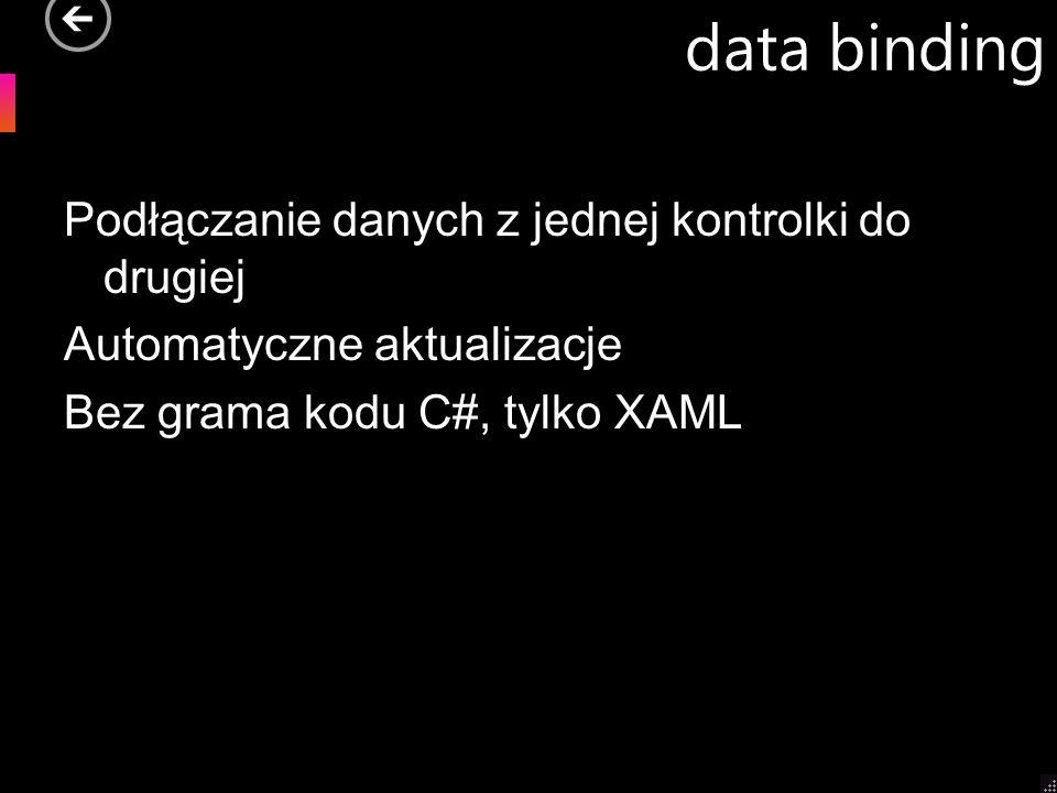 data bindingPodłączanie danych z jednej kontrolki do drugiej Automatyczne aktualizacje Bez grama kodu C#, tylko XAML