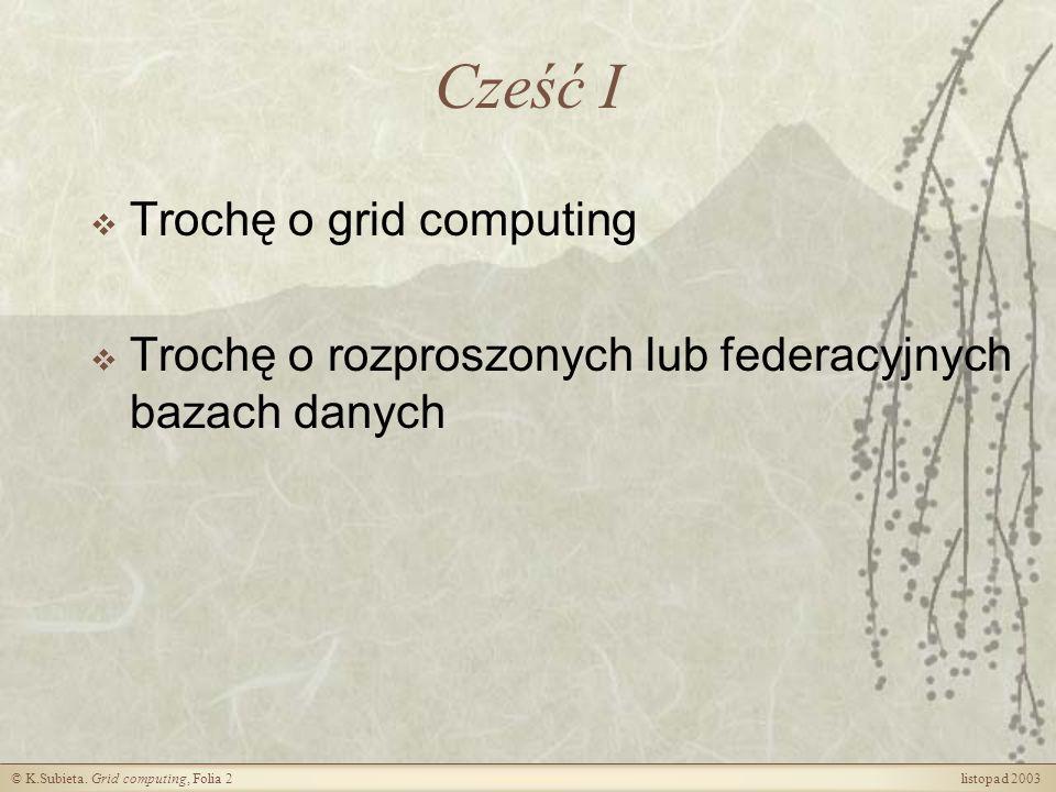 Cześć I Trochę o grid computing