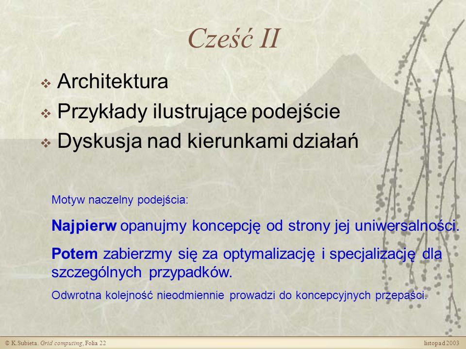 Cześć II Architektura Przykłady ilustrujące podejście