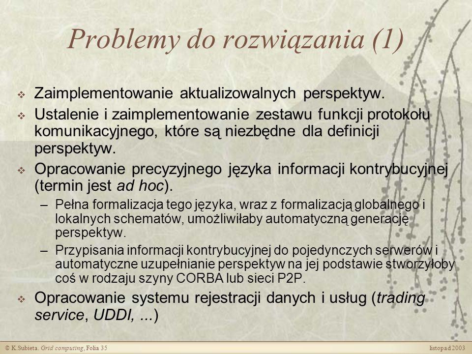 Problemy do rozwiązania (1)