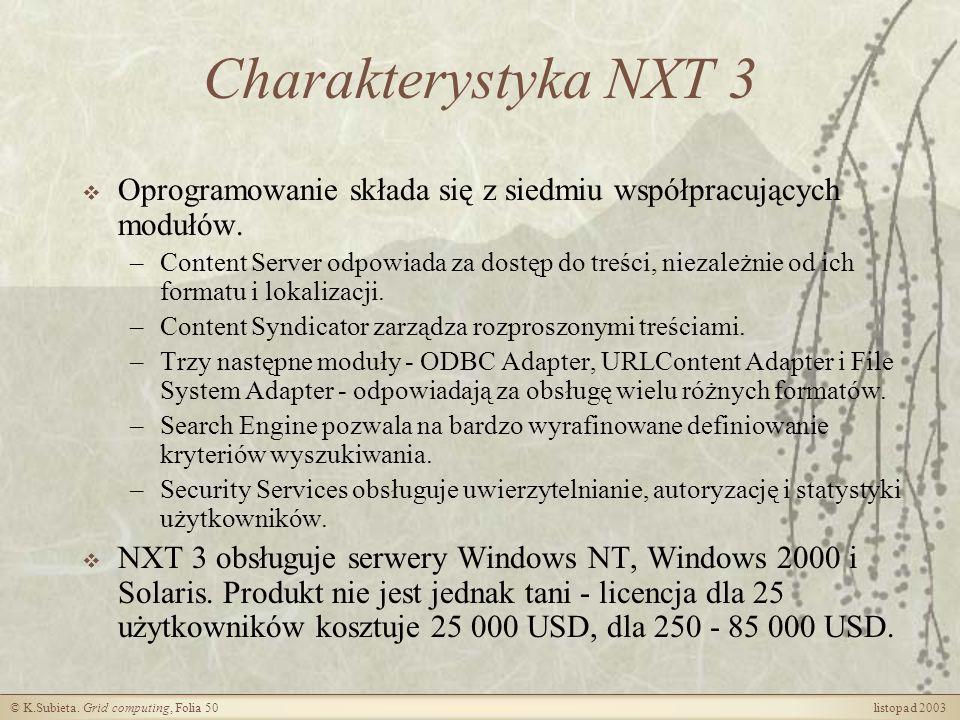 Charakterystyka NXT 3 Oprogramowanie składa się z siedmiu współpracujących modułów.