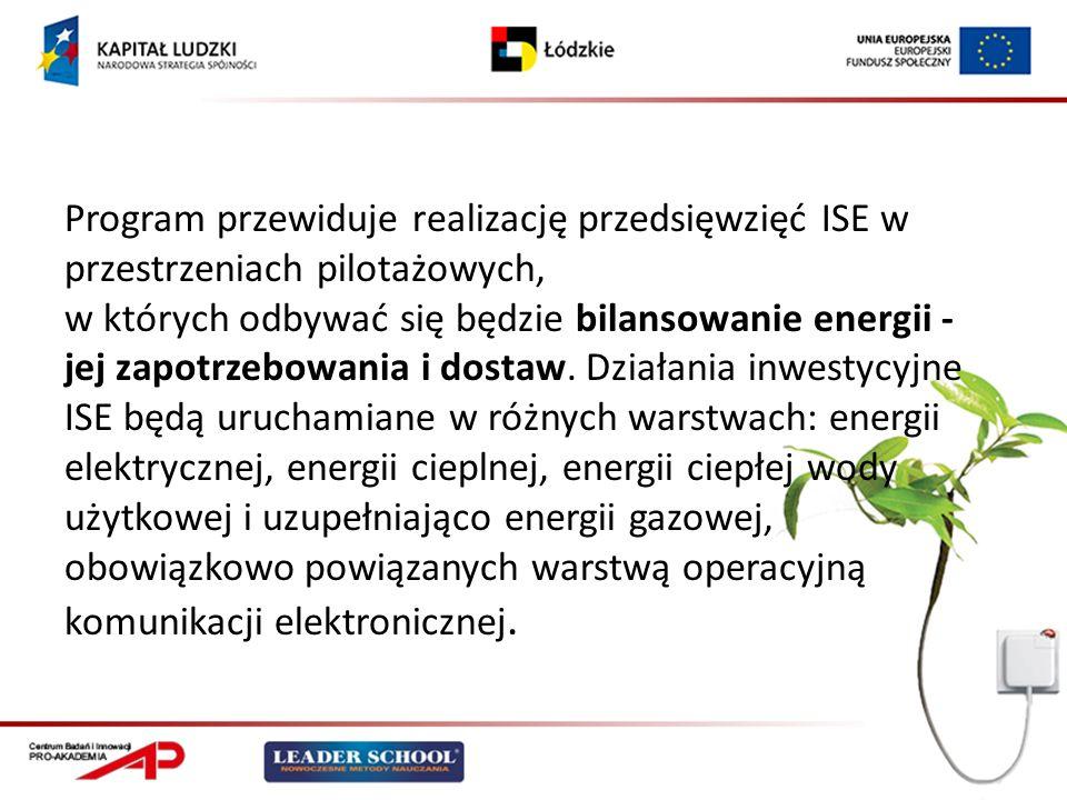 Program przewiduje realizację przedsięwzięć ISE w przestrzeniach pilotażowych, w których odbywać się będzie bilansowanie energii - jej zapotrzebowania i dostaw.