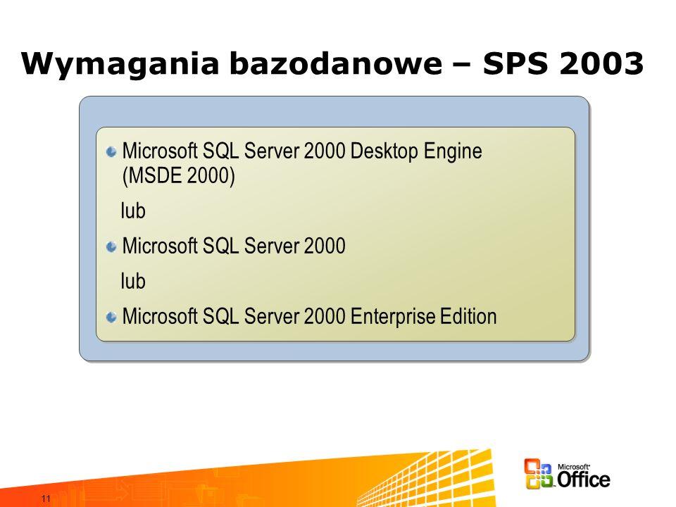 Wymagania bazodanowe – SPS 2003