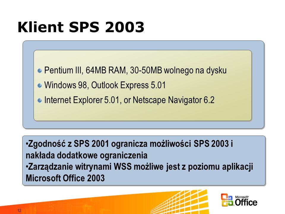 Klient SPS 2003 Pentium III, 64MB RAM, 30-50MB wolnego na dysku