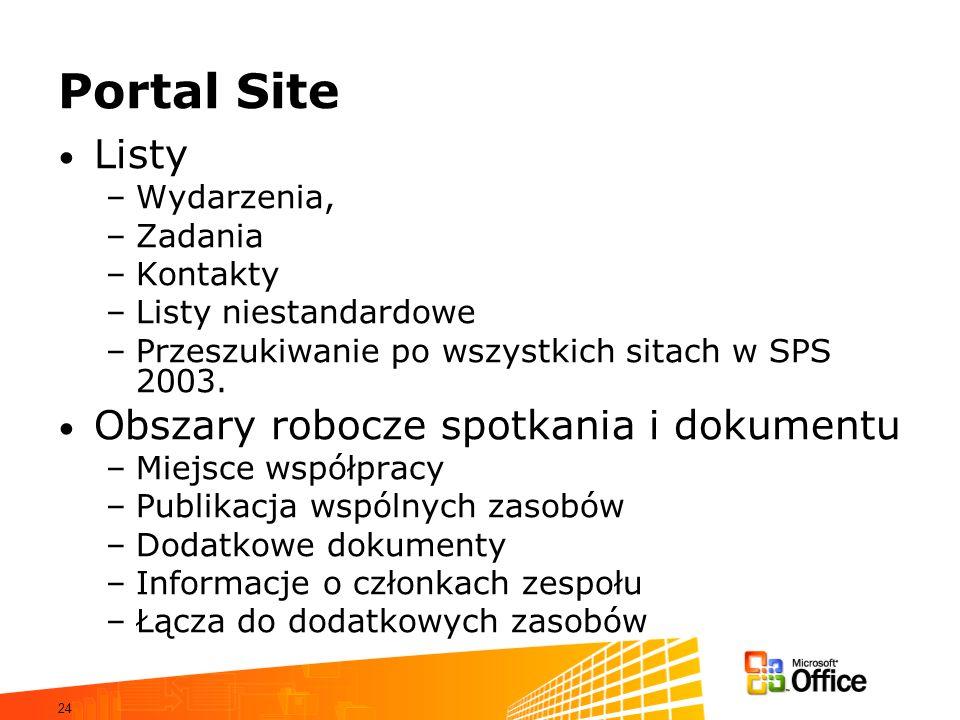 Portal Site Listy Obszary robocze spotkania i dokumentu Wydarzenia,