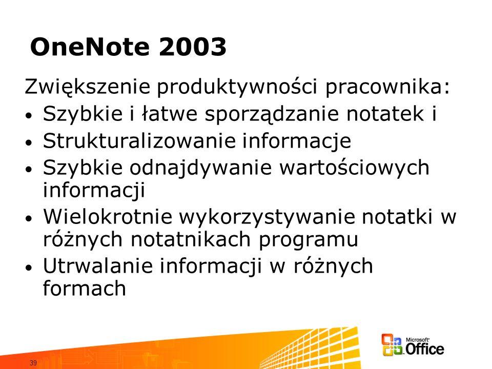 OneNote 2003 Zwiększenie produktywności pracownika: