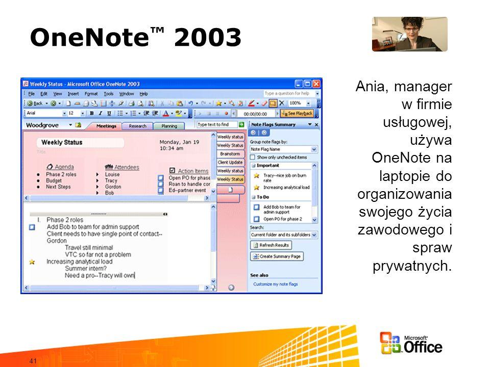 OneNote™ 2003Ania, manager w firmie usługowej, używa OneNote na laptopie do organizowania swojego życia zawodowego i spraw prywatnych.