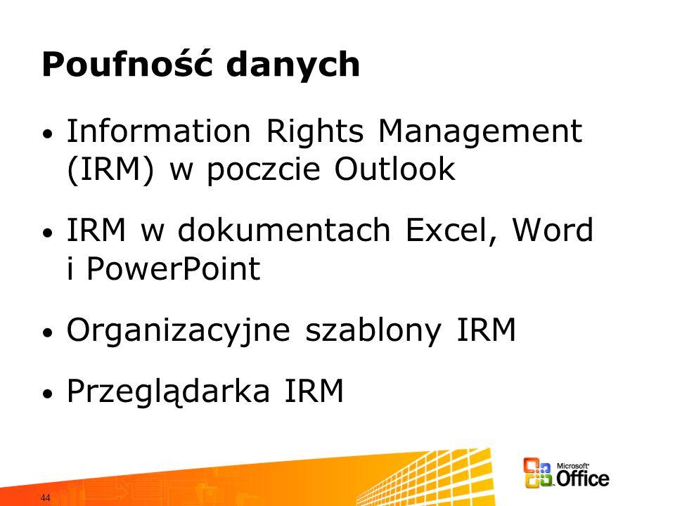Poufność danych Information Rights Management (IRM) w poczcie Outlook