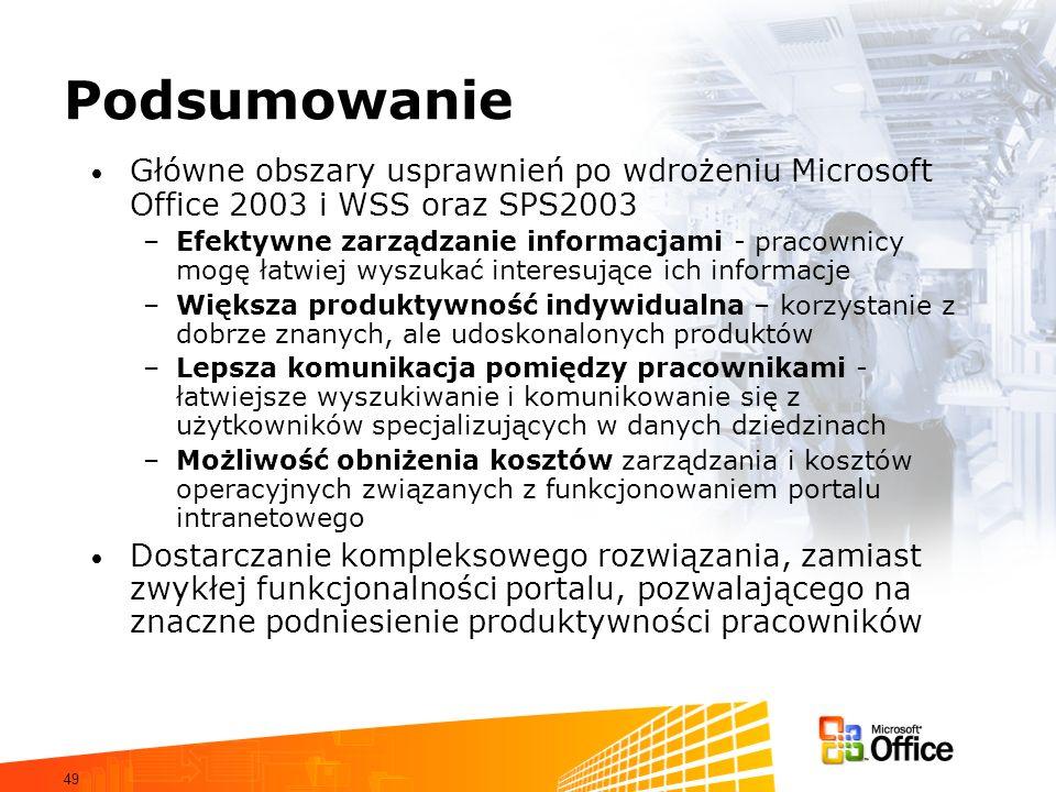 Podsumowanie Główne obszary usprawnień po wdrożeniu Microsoft Office 2003 i WSS oraz SPS2003.