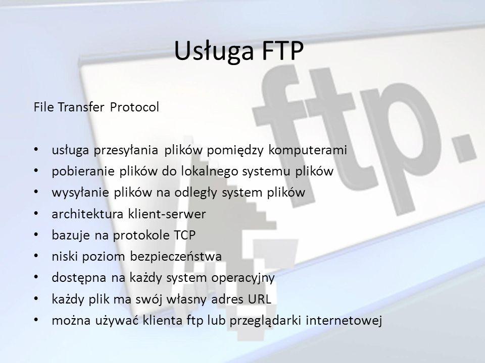 Usługa FTP File Transfer Protocol