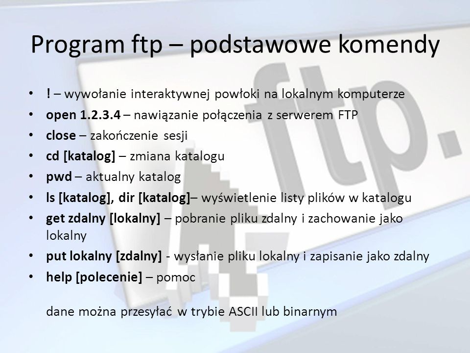 Program ftp – podstawowe komendy