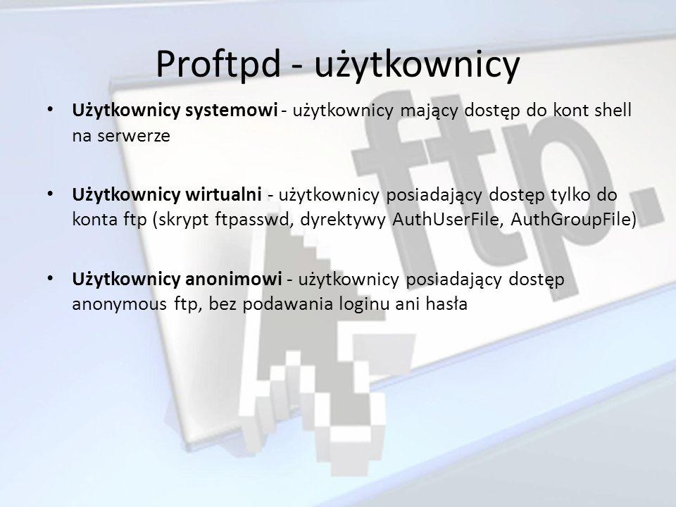 Proftpd - użytkownicy Użytkownicy systemowi - użytkownicy mający dostęp do kont shell na serwerze.