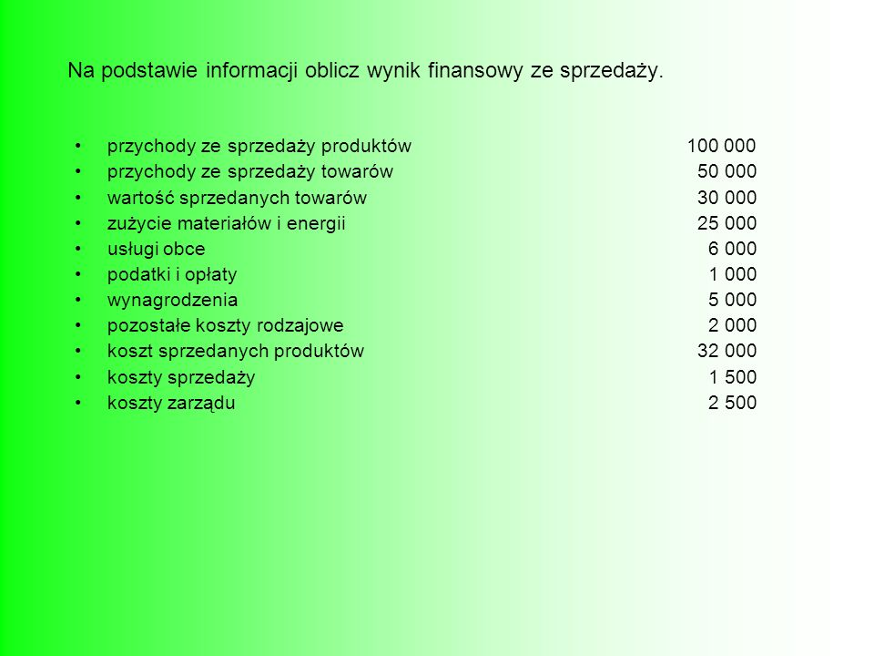 Na podstawie informacji oblicz wynik finansowy ze sprzedaży.