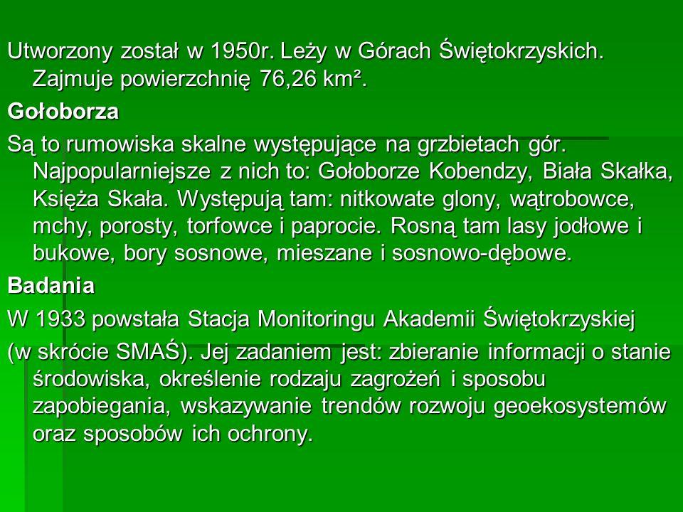 Utworzony został w 1950r. Leży w Górach Świętokrzyskich
