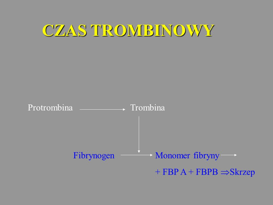 CZAS TROMBINOWY Protrombina Trombina Fibrynogen Monomer fibryny