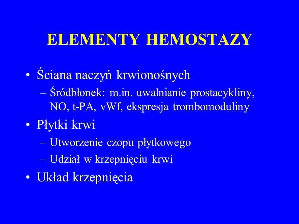 ELEMENTY HEMOSTAZY Ściana naczyń krwionośnych Płytki krwi