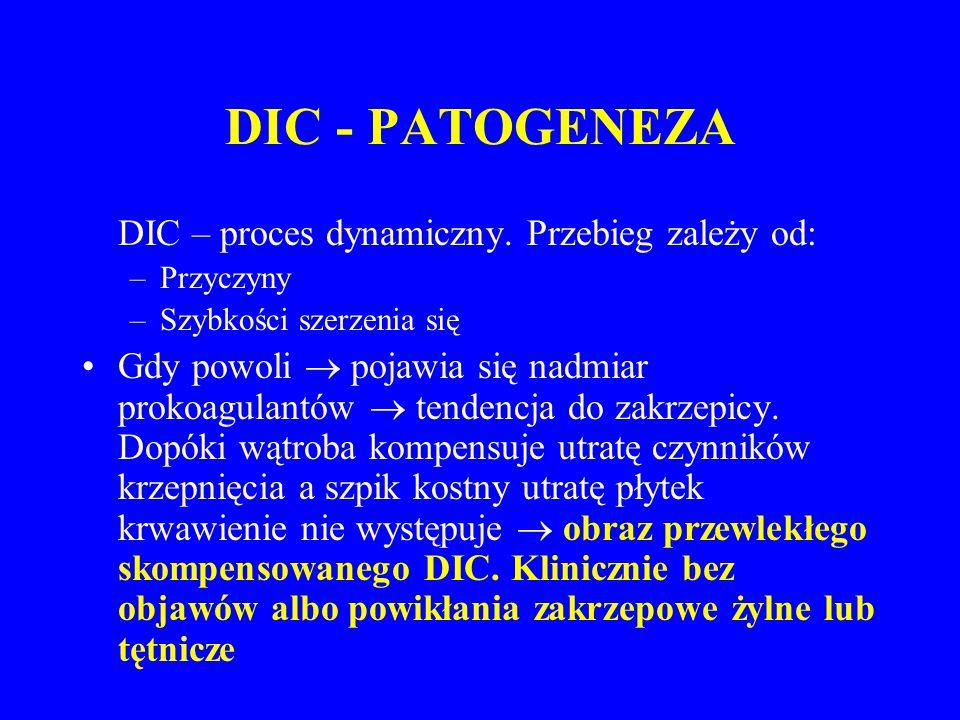 DIC - PATOGENEZA DIC – proces dynamiczny. Przebieg zależy od: