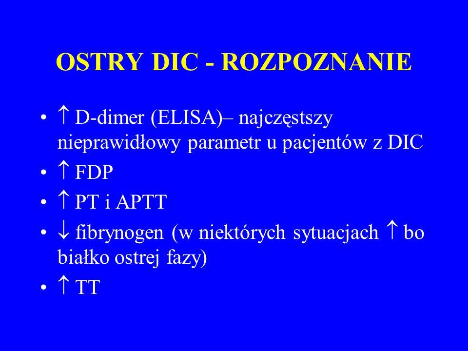 OSTRY DIC - ROZPOZNANIE