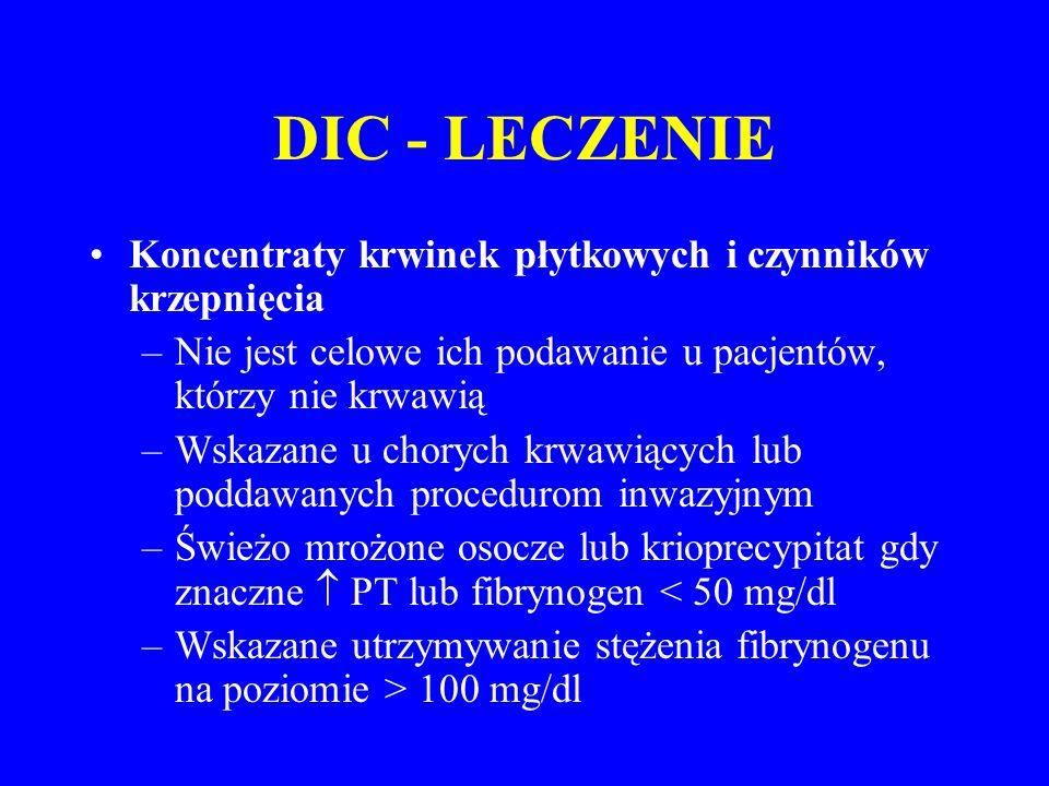 DIC - LECZENIE Koncentraty krwinek płytkowych i czynników krzepnięcia