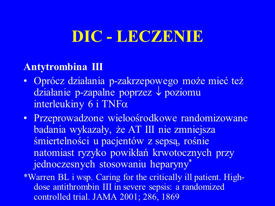 DIC - LECZENIE Antytrombina III