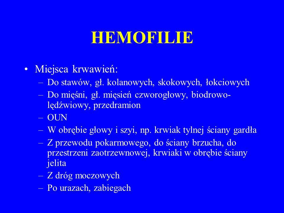 HEMOFILIE Miejsca krwawień: