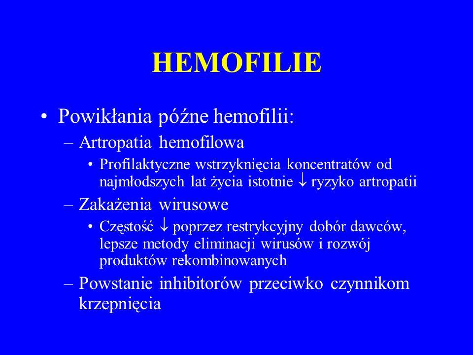 HEMOFILIE Powikłania późne hemofilii: Artropatia hemofilowa