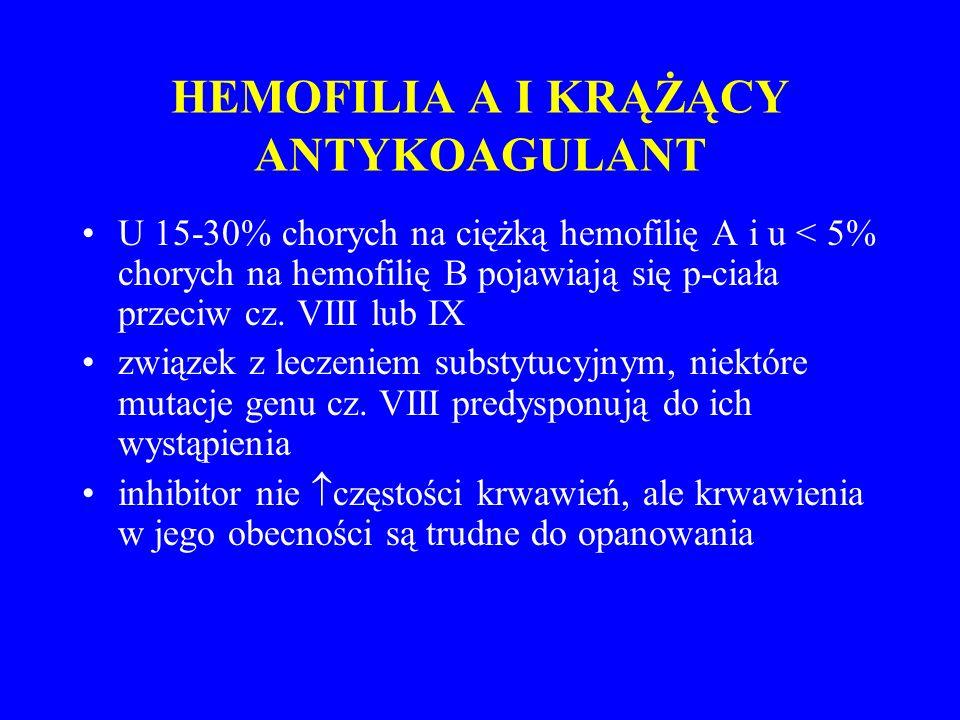 HEMOFILIA A I KRĄŻĄCY ANTYKOAGULANT