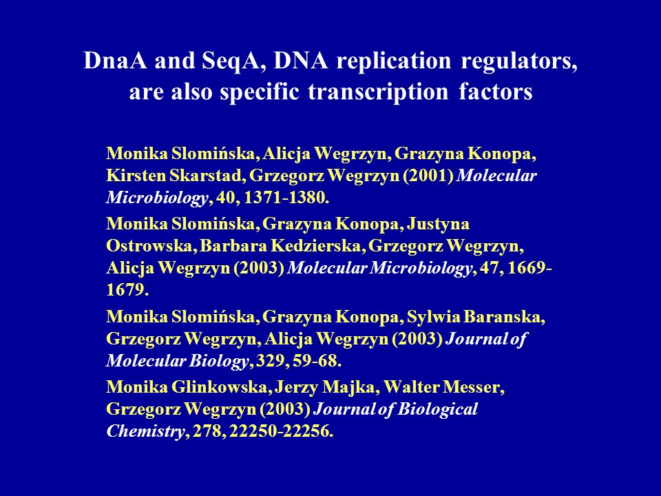 DnaA and SeqA, DNA replication regulators, are also specific transcription factors