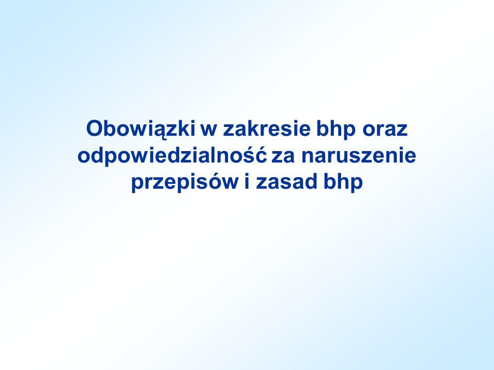 Obowiązki w zakresie bhp oraz odpowiedzialność za naruszenie przepisów i zasad bhp
