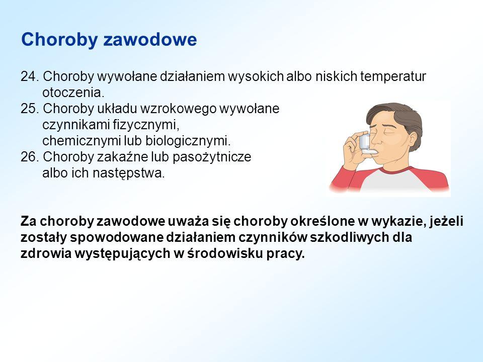 Choroby zawodowe 24. Choroby wywołane działaniem wysokich albo niskich temperatur otoczenia.
