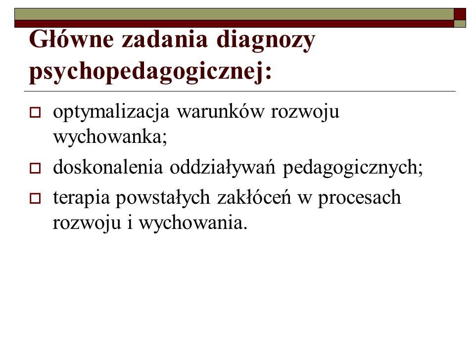 Główne zadania diagnozy psychopedagogicznej: