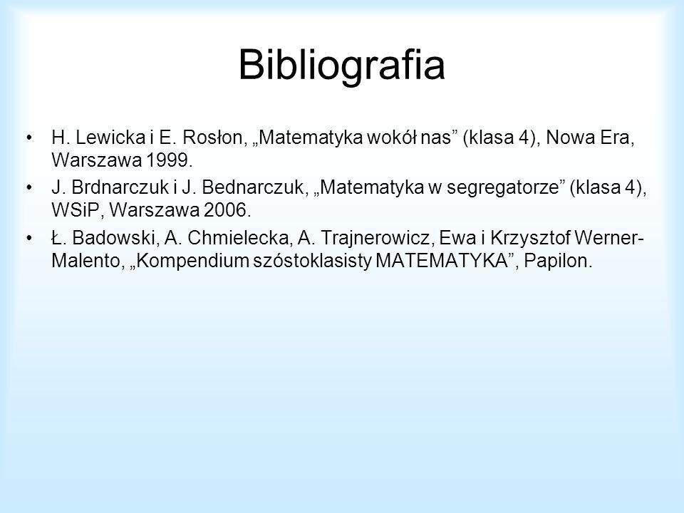 "Bibliografia H. Lewicka i E. Rosłon, ""Matematyka wokół nas (klasa 4), Nowa Era, Warszawa 1999."
