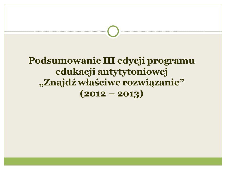 """Podsumowanie III edycji programu edukacji antytytoniowej """"Znajdź właściwe rozwiązanie (2012 – 2013)"""